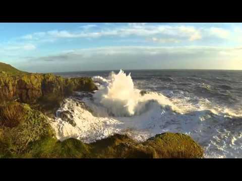 Fishing off the Aberdeen cliffs in heavy seas December 2015
