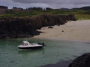 Anchored off the beach at Port Langamull, near Caliach Point, Isle of Mull