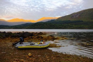 A calm morning - boat camping on Loch Etive with my trusty Avon inflatable in the foreground