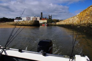 The view back into St Andrews harbour as we leave the entrance channel heading out to sea
