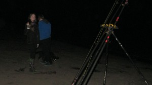Katie, Michael and Bonnie fishing on a fine October night, Whitesands Beach near Dunbar