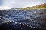 Whitecapped waves driven up Loch Etive by a vicious squally wind