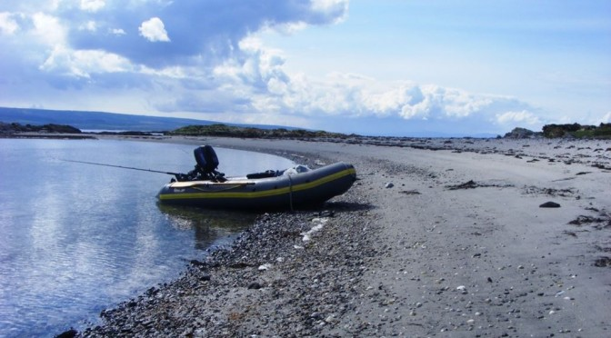 My Avon R310 inflatable on Cara Island, near Gigha