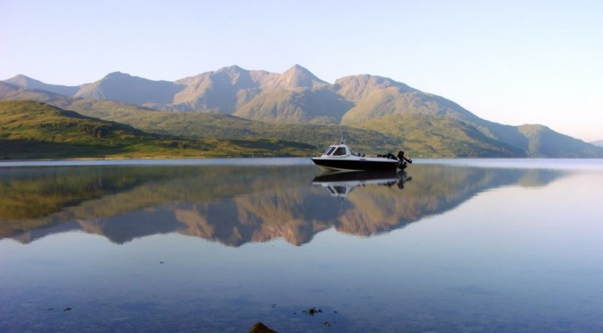 Alcatraz sits quietly at anchor off Barrs, Loch Etive, on a lovely July morning