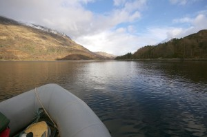 Taking the inflatable well up Loch Leven and near the narrows