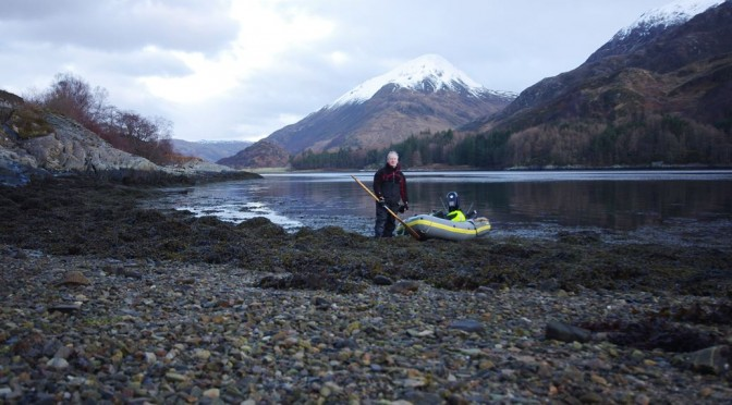 Preparing to head home after a winter day's inflatable fishing on Loch Leven