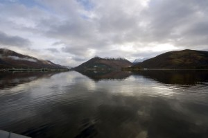 A calm February morning on Loch Leven, looking towards Glencoe campsite