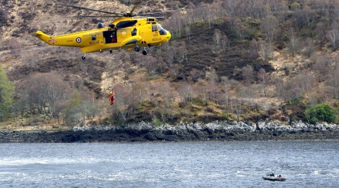 RAF ASR helicopter rescuing a kayak angler