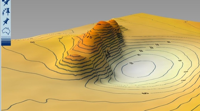 3D image of one of the peaks off Dunbar, generated by Reefmaster using UKHO survey data