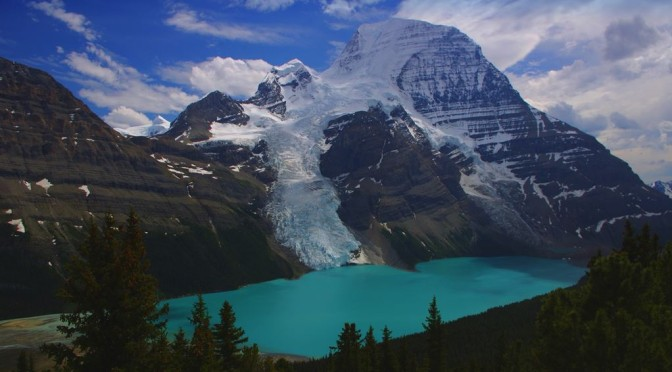 Mount Robson and Berg Lake, from above Toboggan Falls