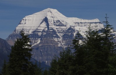 First glimpse of Mount Robson, approaching from the west
