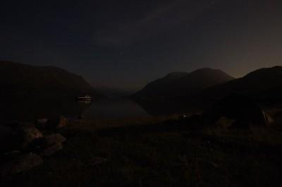 Strong moonlight illuminates upper Loch Etive