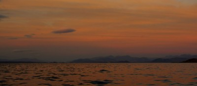 Towards Oban and Fort William, with a fine afterglow lighting the sky