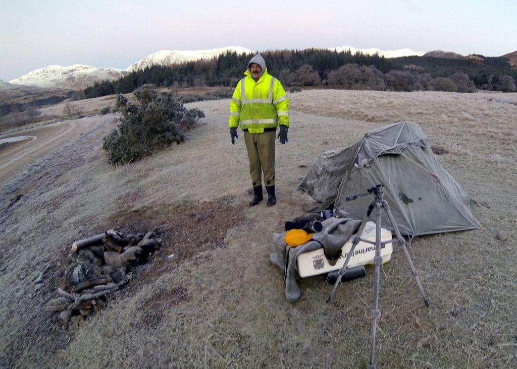 A frigid campsite at Barrs