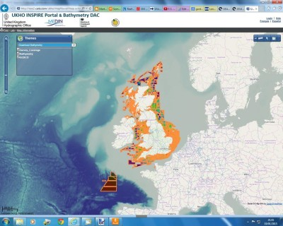"INSPIRE portal as it looks when you select ""Download Bathymetry"""