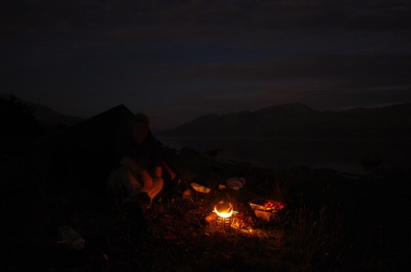 Night-time campfire on a cool, clear evening in September