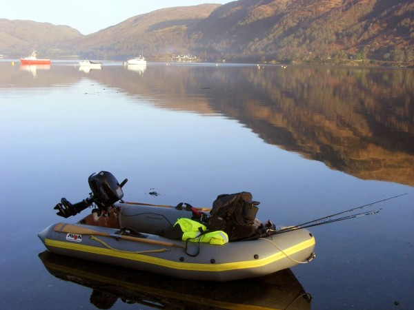 My Avon 310 SIB ready for the day on Loch Etive, February 2011