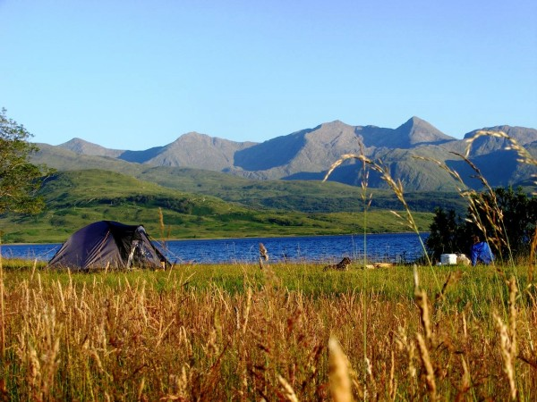 A summer boat camp on Loch Etive with Mike and Bonnie. Looking across the loch towards Ben Cruachan on a lovely sunny evening.