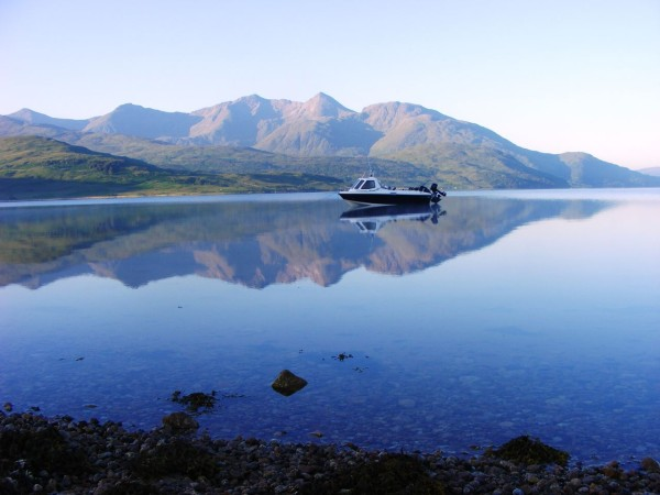 Early morning in July, with Alcatraz lying quietly on her overnight mooring at Barrs, Loch Etive. Special because it was a great couple of days camping with my son Mike in superb surroundings, and also the first time I'd anchored off overnight. Ben Cruachan is in the background