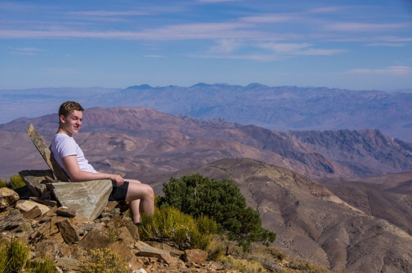 Mike gets comfortable, 9000 feet up in Death Valley NP