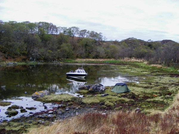 Boat camping in a sheltered inlet, Oronsay, Loch Sunart
