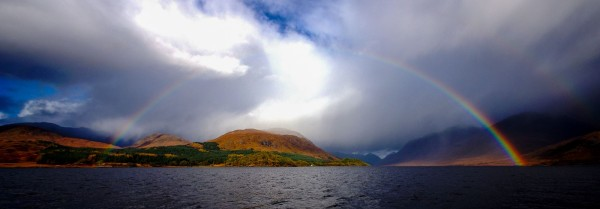 A double rainbow forms over Barrs, Loch Etive