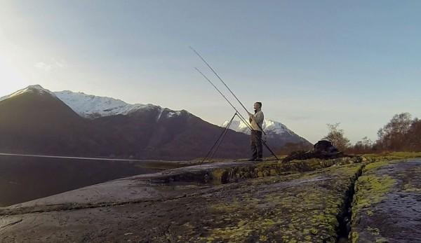 Winter shore fishing on Loch Leven
