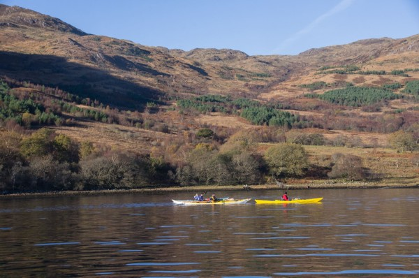 Sea kayaks on Loch Etive
