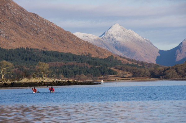 A pair of sea kayakers on Etive