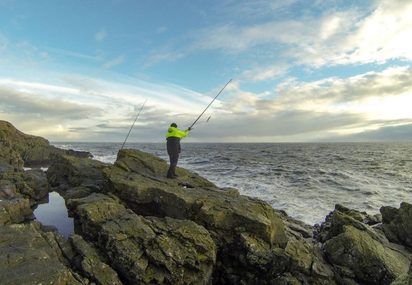 Chucking a bait our for cod at the Square Stone, Aberdeen