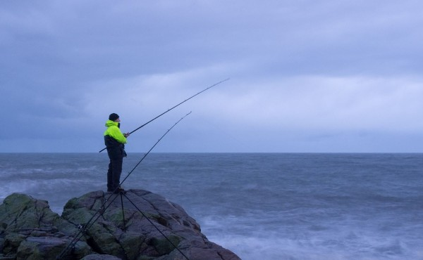 Fishing off an Aberdeenshire rock mark in January