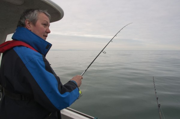Optimistic fishing session in March - Ian spinning for pollack