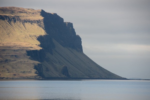 The Gribun Cliffs, Mull. Around 1000 feet high, with the road creeping along the bottom