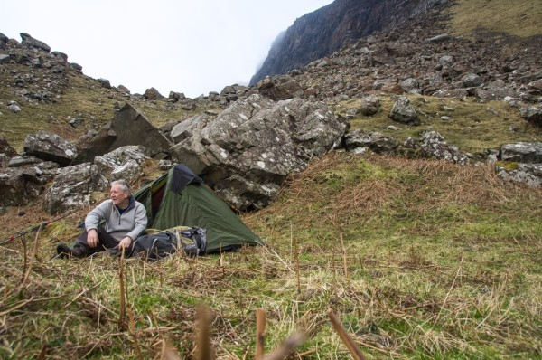 Camping in the Ardmeanach Wilderness, Mull. The base of an old scree slope provided a sheltered spot for the night