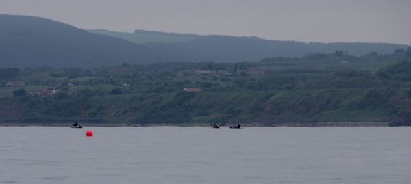 A collection of hopeful anglers off Skateraw, near Dunbar