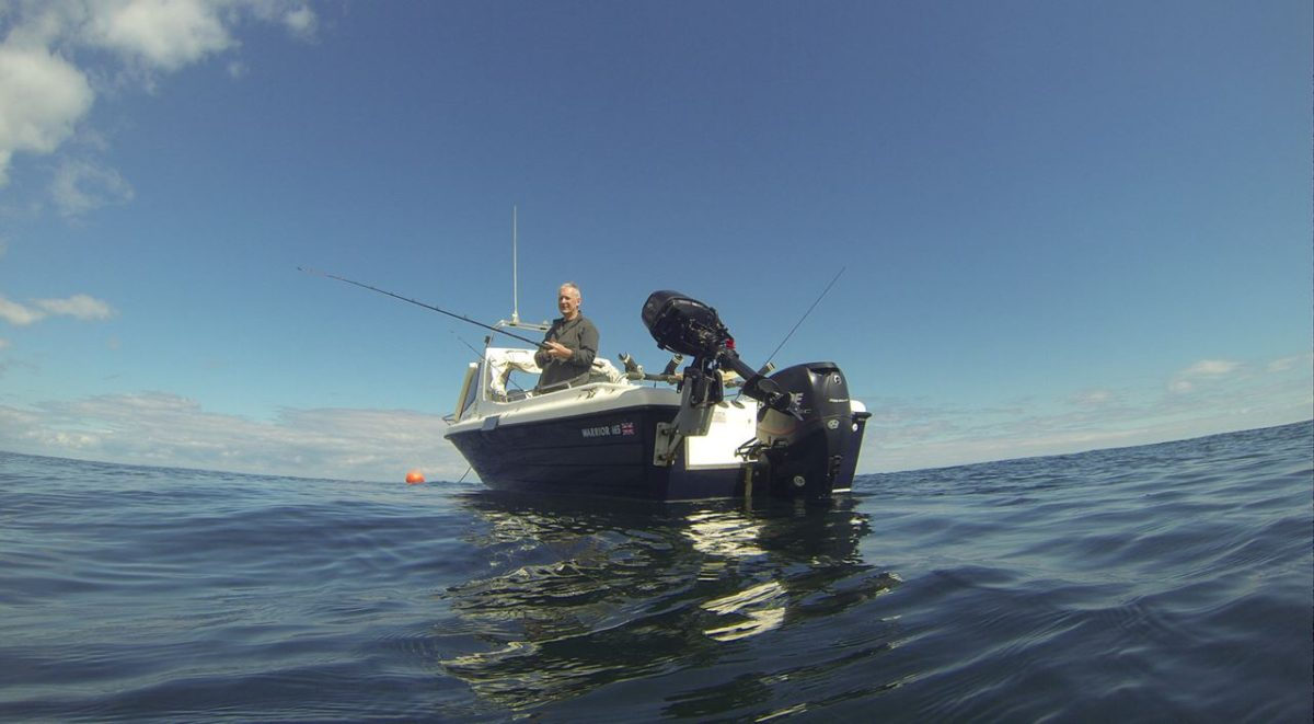 Alcatraz from sealevel - floating the GoPro offshore from Dunbar