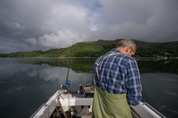 Clearing skies on a windless Loch Sunart - but only small fish around
