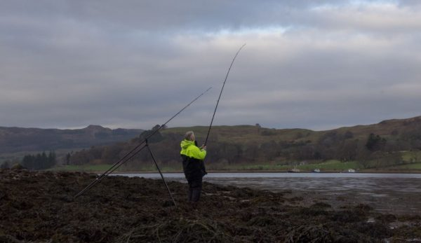 Fishing the south shoreline of Loch Etive near Achnacloich