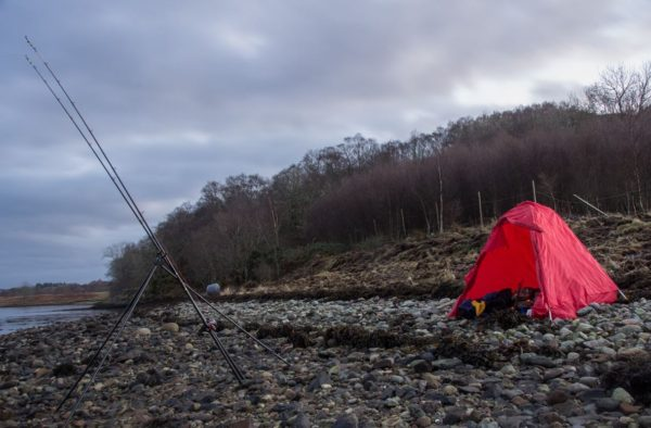 Extra shelter on a winters day - a beach buddy style bivi to ward off the breeze.