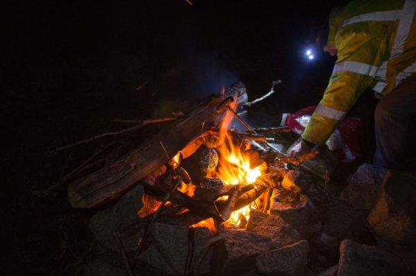 Dinner cooking on the campfire