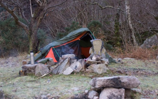 A level site, sheltered from the wind and with a nice sized fire ring in front of you - what more do you need in winter
