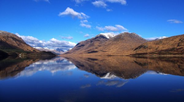 A stunning winter's day on Loch Etive - blue skies and a thin coat of ice on the sealoch