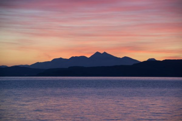 Just before sunrise on Ben Cruachan, viewed from Mull