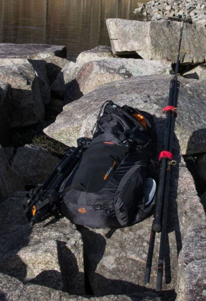 A pair of rods and all my camera and fishing gear packed into a 30 litre rucksac - it pays to travel light when hiking to a distant fishing mark