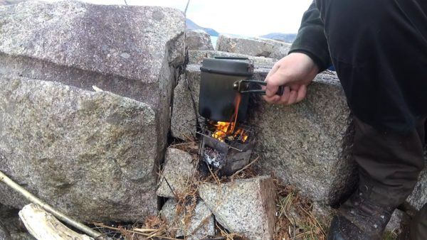 Brewing a coffee over my packable woodburner stove - a handful of twigs is all that's required.