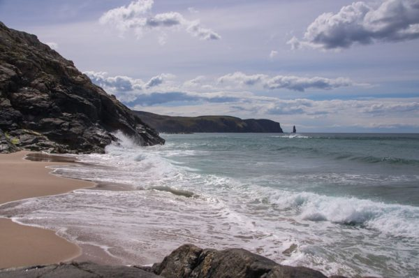 Surf rolls into a lovely little beach to the north of Sandwood