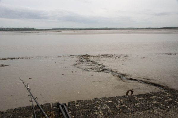 Fishing over mud to reach the estuary as we wait for the tide to rise.