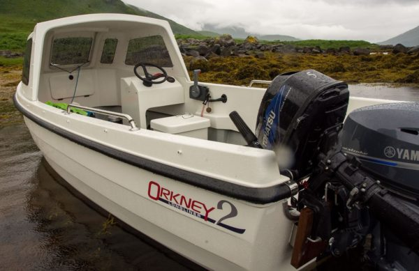 Orkney Longliner2 rear view showing outboards, console and cuddy