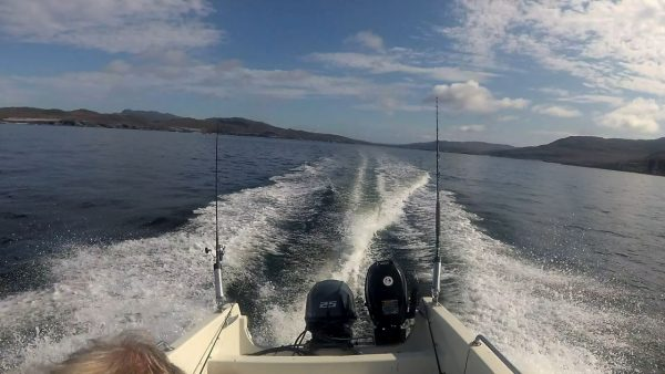 Exiting Loch Tarbet, Jura, heading south on a fine morning and calm seas
