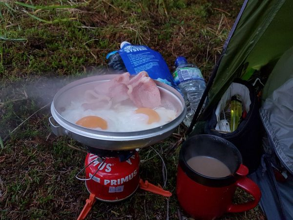 Best way to start the day after a wet and wild night - coffee, bacon and eggs